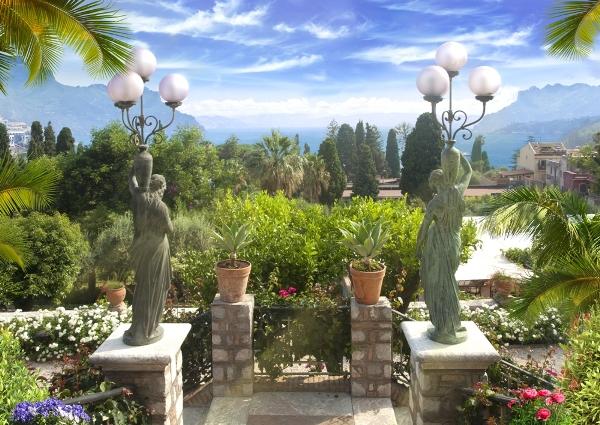 3D Фотообои «Статуи женщин в саду»<br>kit: None; gender: None;