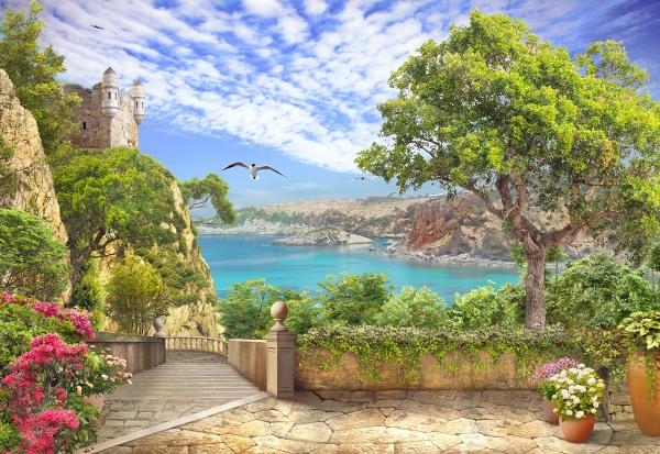 """Фотообои """"3D Фотообои «Прекрасное место рядом с океаном»"""""""