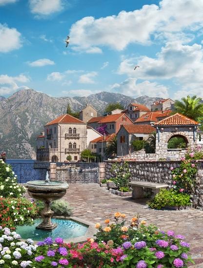 3D Фотообои «Домики на побережье»