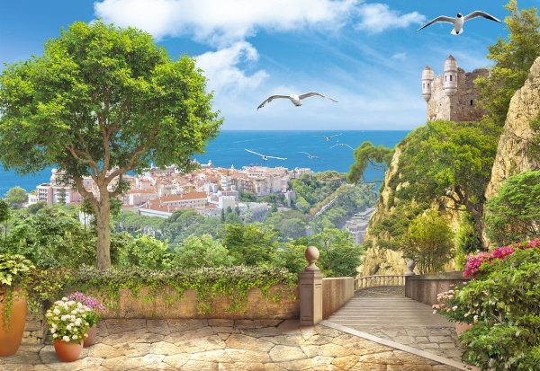 3D Фотообои «Вид на прибрежный город»