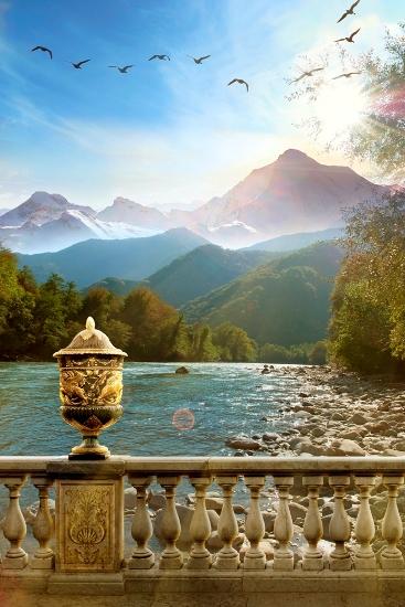 3D Фотообои «Река у подножья гор»