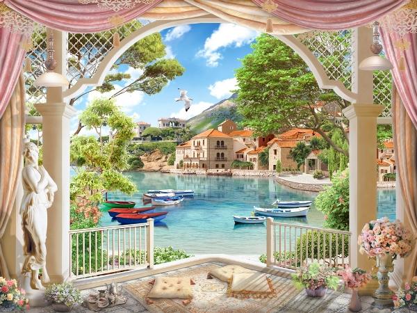 """Фотообои """"3D Фотообои «Веранда с видом на лодки в заливе»"""""""