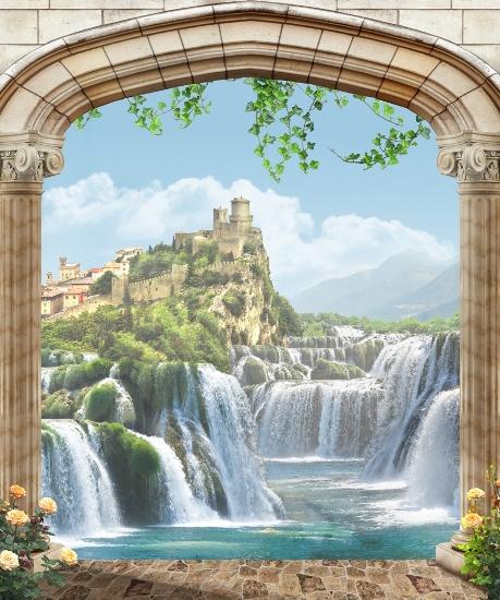 3D Фотообои «Долина водопадов»