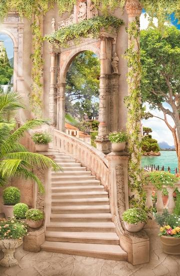 3D Фотообои «Лестница ведущая в сад»