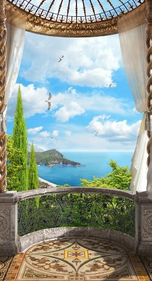 "Фотообои ""3D Фотообои «Балкон с видом на океан»"""