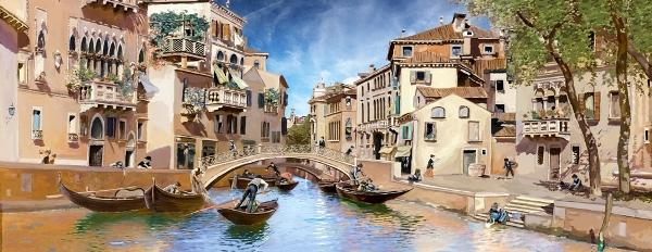 3D Фотообои «Венецианские гондольеры»