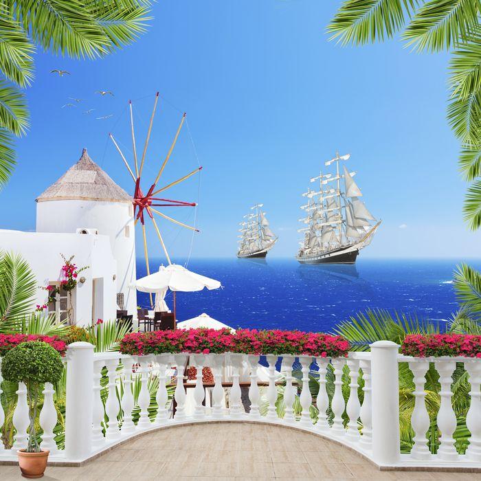 3D Фотообои «Балкон с видом на мельницу и корабли»<br>kit: None; gender: None;