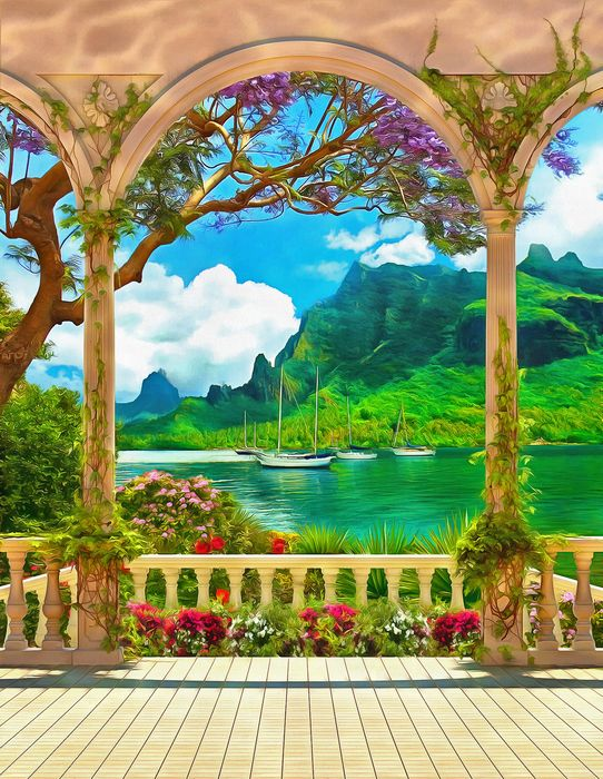 "Фотообои ""3D Фотообои «Терраса в зеленом заливе»"""