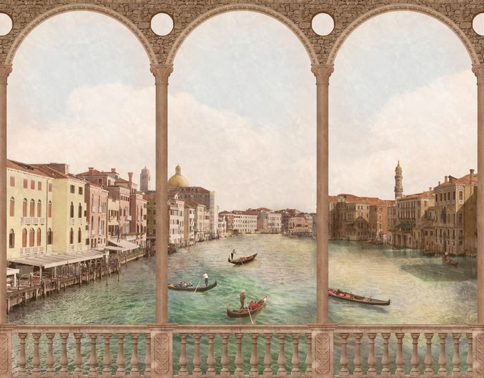 3D Фотообои «Арки с видом на венецианский канал»<br>kit: None; gender: None;