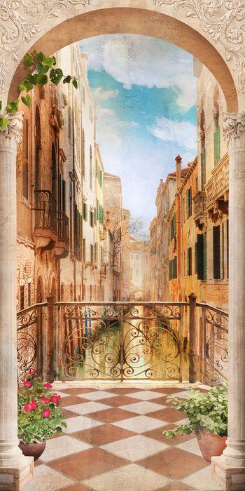 3D Фотообои «Балкончик в Венеции»<br>kit: None; gender: None;