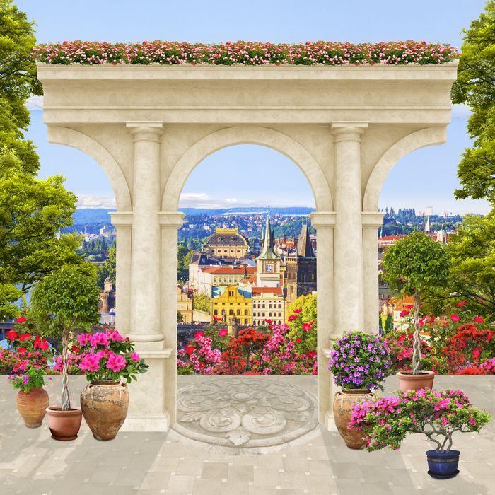 3D Фотообои «Терраса с видом на европейский город»<br>kit: None; gender: None;