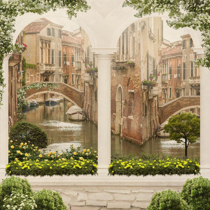3D Фотообои «Вид на венецианский дворик»<br>kit: None; gender: None;