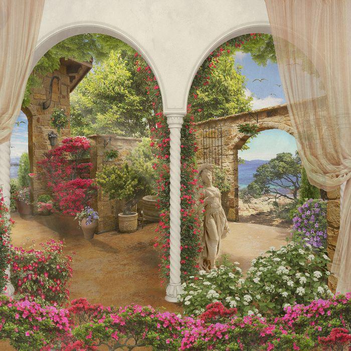 3D Фотообои «Благоухающий дворик»<br>kit: None; gender: None;