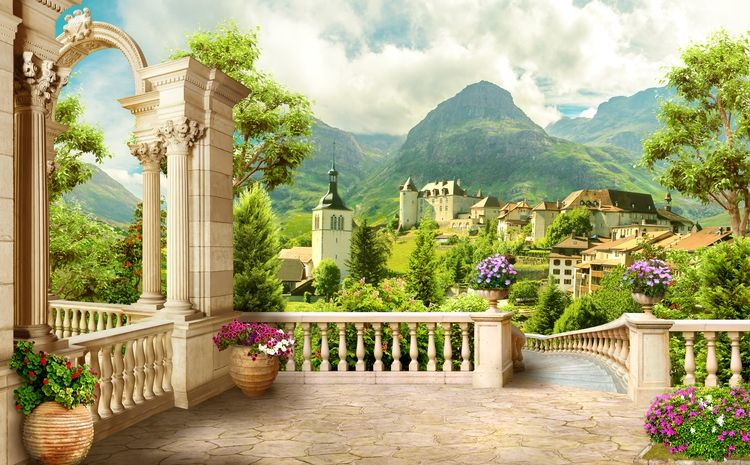 3D фотообои «Античная терраса с видом на владения» вид 1
