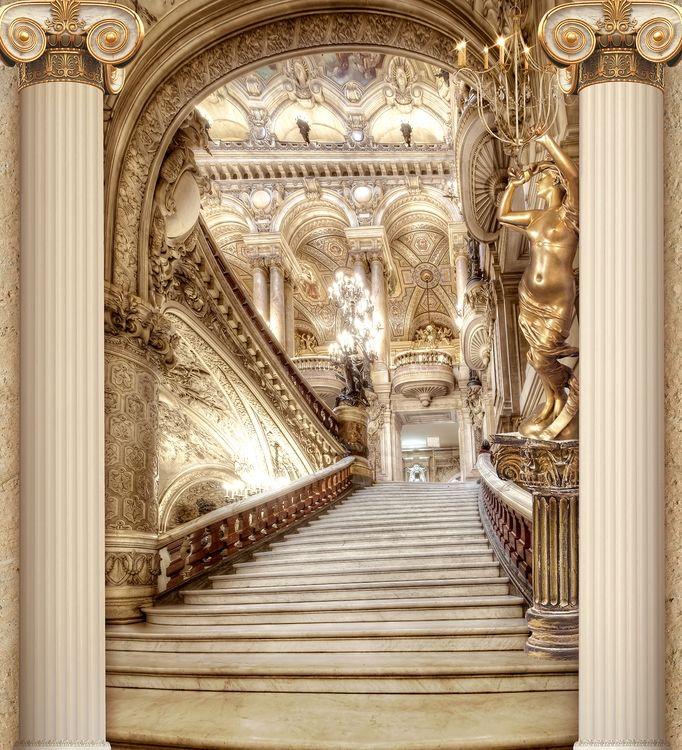 3D фотообои «Лестница в богатом замке» вид 1