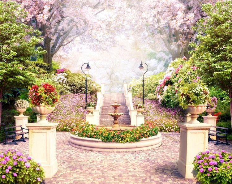 3D Фотообои «Фонтан в цветущем парке»<br>kit: None; gender: None;