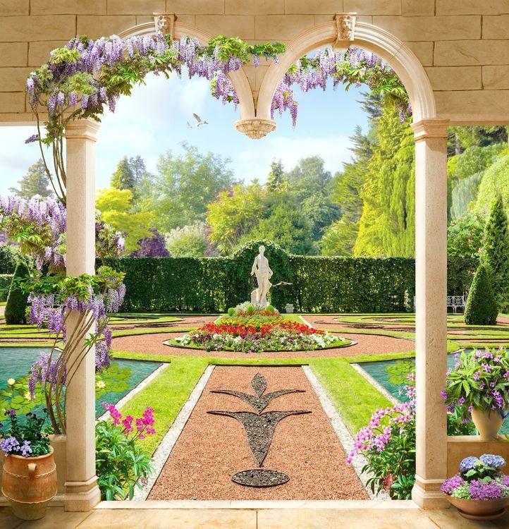 3D Фотообои «Цветущий двор аристократического поместья»<br>kit: None; gender: None;