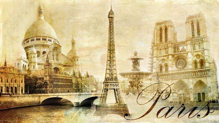 """3D Фотообои  """"Достопримечательности Парижа"""""""