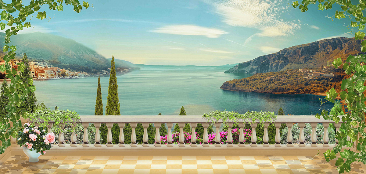 3D Фотообои  Вид с террасы балконФотообои «Вид с террасы балкон» живописное, красивое место. Здесь повсюду царит аура тепла и солнечное настроение. Прекрасный вариант для комнаты, в которую желаете внести больше света.<br><br>На чудесной фреске с видом на террасу яркий фасад, украшенный многочисленными диковинными растениями, прикрасами природы. Они плавно и нежно переплетаются, образуя великолепный каркас. Иллюстрация озера – пейзаж, который открывается здесь с веранды, очень уместно дополняет картину, внося некоторые нотки спокойствия и романтики.<br><br>Внесите атмосферу тишины и уюта в Ваш дом, необходимую для полноценного отдыха. Расслабьтесь душой и телом вместе с нашей уникальной задумкой дизайна, разработанного специально для Вашего комфорта.<br>kit: None; gender: None;