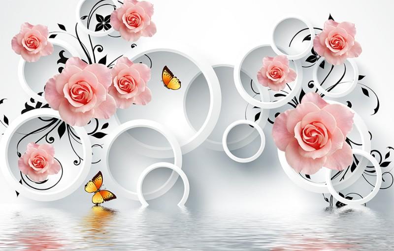 3D фотообои 3D Фотообои «Бутоны роз над водой» вид 1