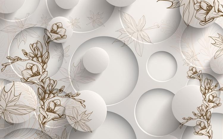 3D Фотообои «Объемные круги с цветочным узором»<br>kit: None; gender: None;