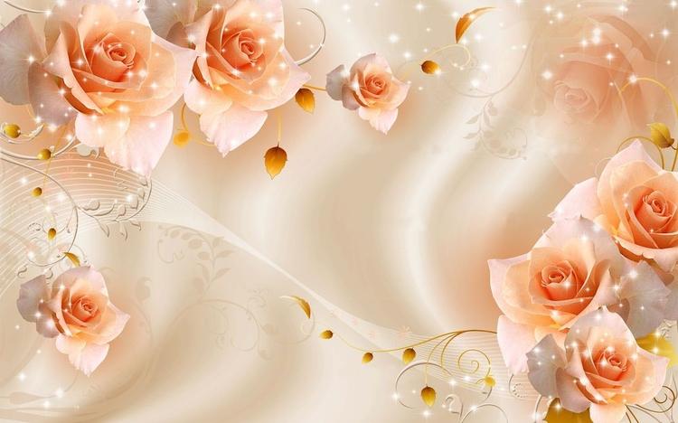 3D Фотообои «Композиция с бежевыми розами»<br>kit: None; gender: None;