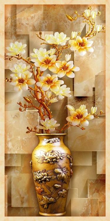 3D фотообои «Объемная китайская ваза» вид 1