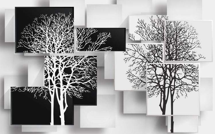 3D фотообои «Деревья в стиле модерн» вид 1