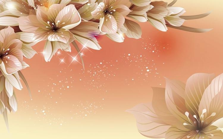 3D фотообои «Персиковая инсталляция с цветами» вид 1