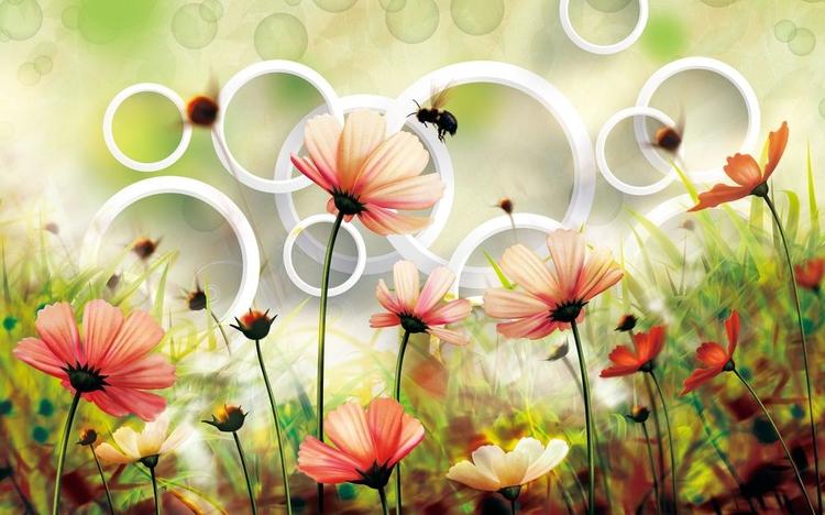 3D Фотообои «Полевые цветы»<br>kit: None; gender: None;