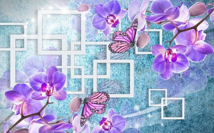 3D Фотообои «Современная композиция с орхидеями»<br>kit: None; gender: None;