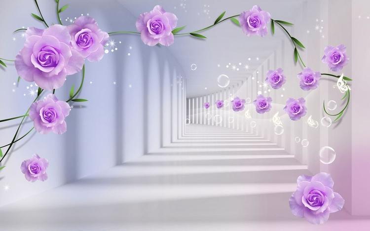 3D фотообои «Тоннель с розами» вид 1