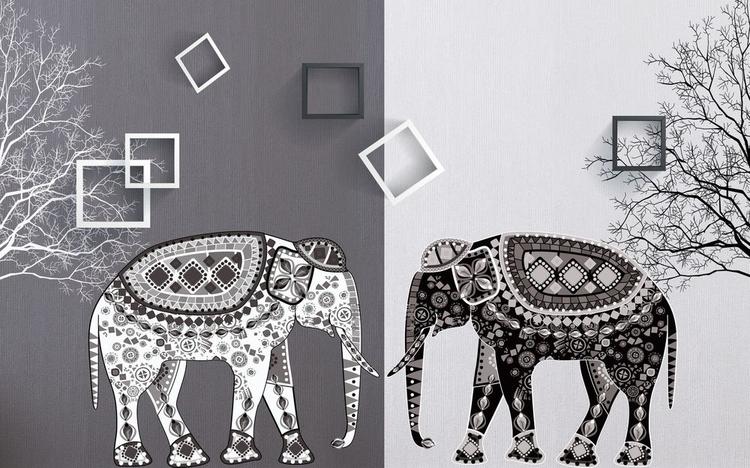 3D Фотообои «Слоны в стиле модерн»<br>kit: None; gender: None;