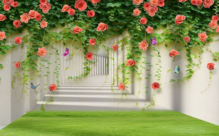 3D Фотообои «Тоннель с лианами роз»<br>kit: None; gender: None;