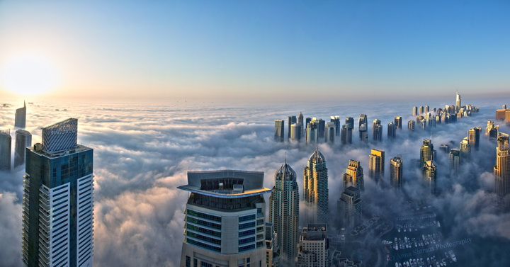 """Фотообои """"3D Фотообои  """"Туман над Дубаем"""" """""""
