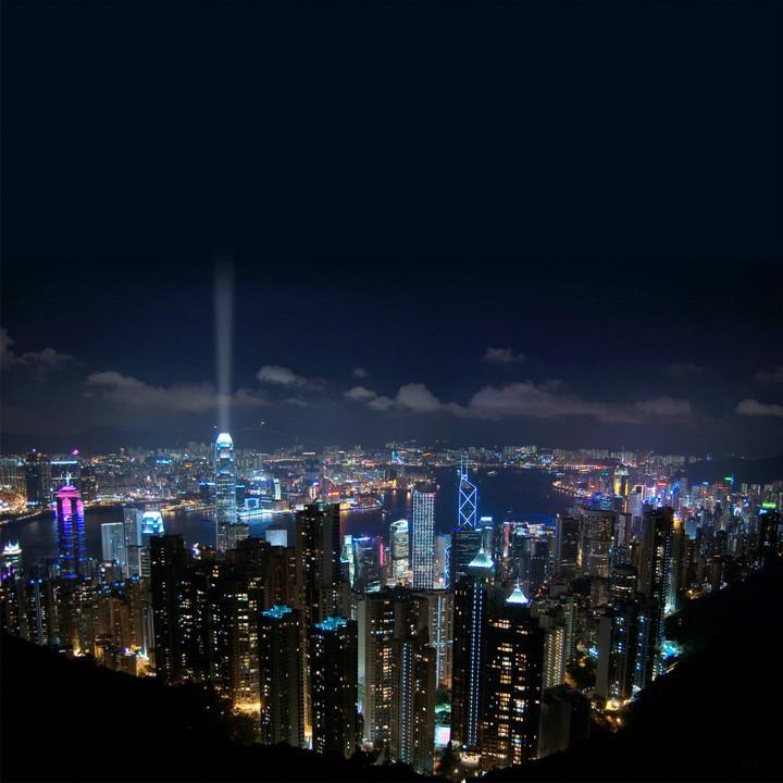 """3D Фотообои  """"Ночной Гонконг"""""""