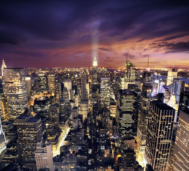 "3D Фотообои  ""Ночной Манхэттен"""