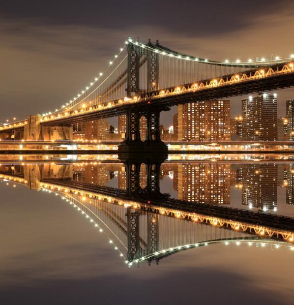 """3D Фотообои  """"Бруклинский мост: отражение в реке Гудзон"""""""