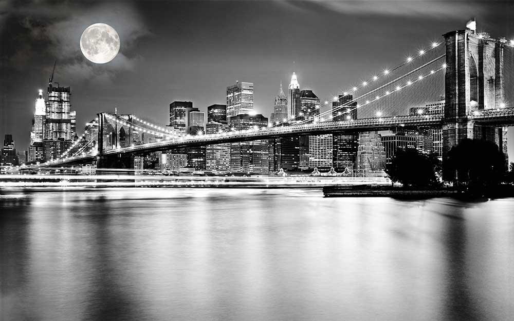 """Фотообои """"""""Черно-белая инсталляция с полной луной над Бруклинским мостом"""""""""""