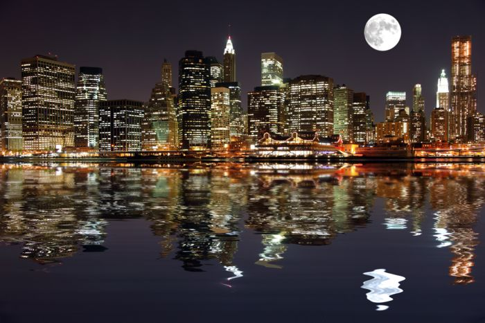 """Фотообои """"3D Фотообои  """"Луна над ночным городом"""" """""""