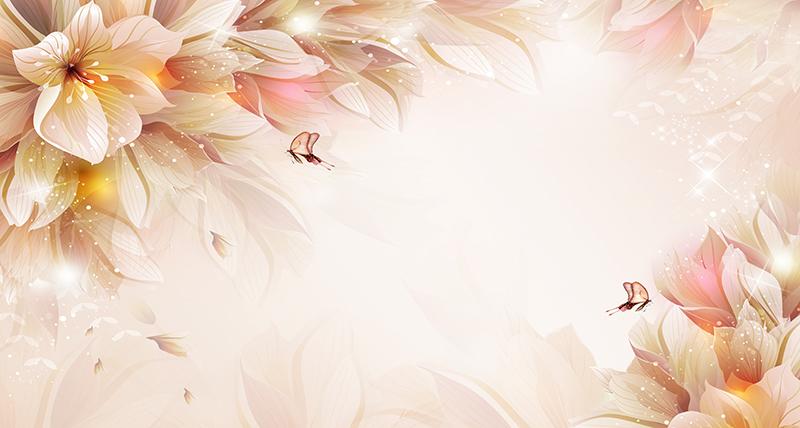 3D Фотообои Волшебные цветы с бабочками<br>kit: None; gender: None;