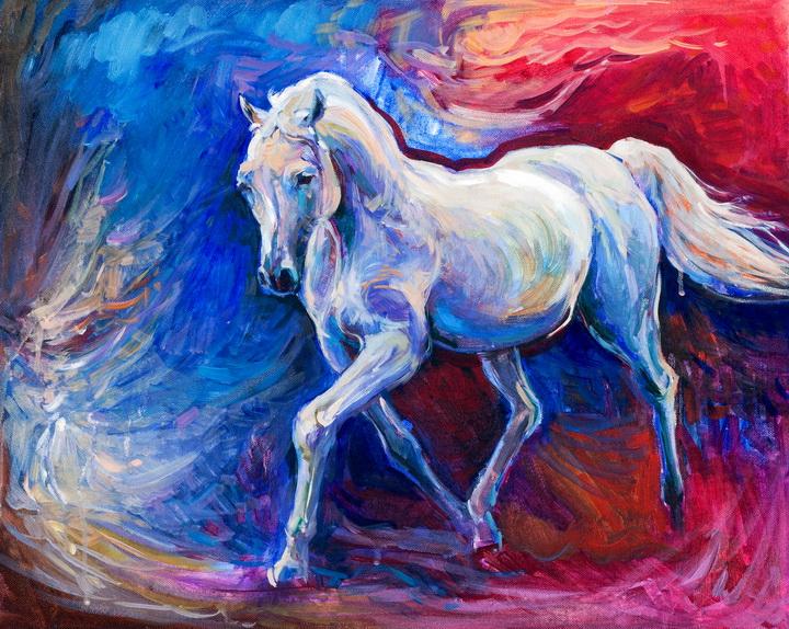 """3D Фотообои  """"Синяя Лошадь"""""""