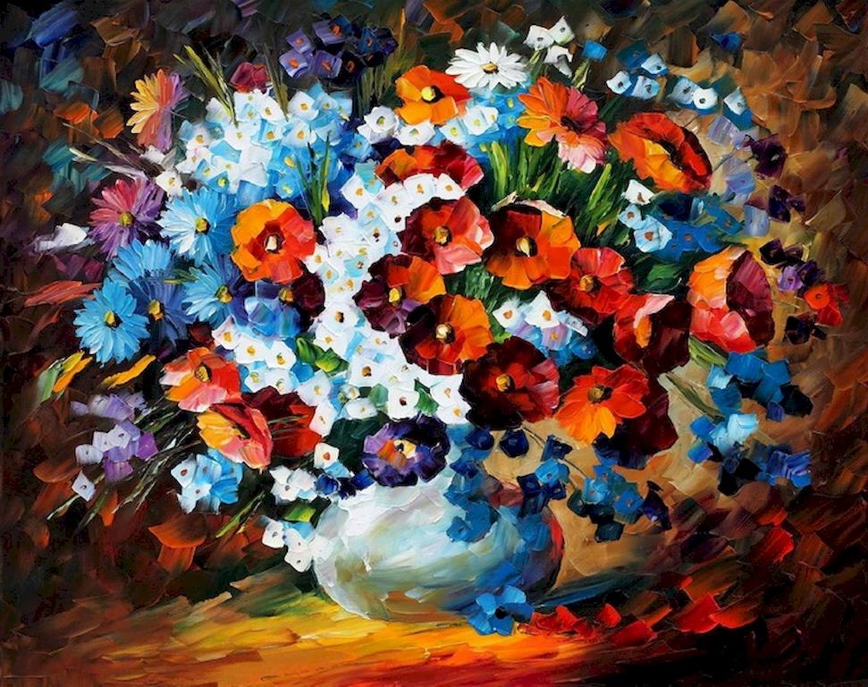 """3D Фотообои  """"Ваза со свежими цветами"""""""
