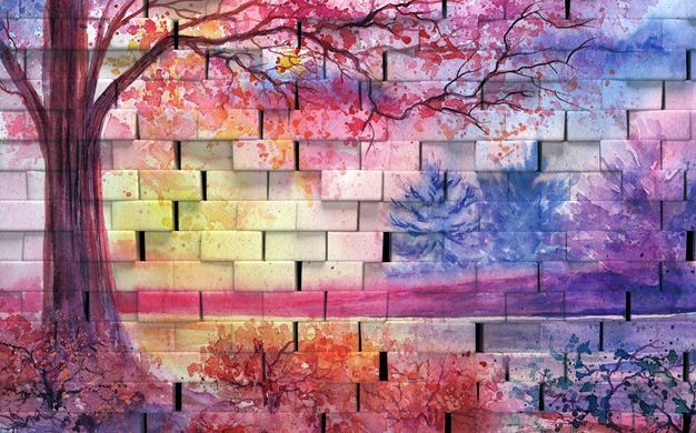 """3D Фотообои  """"Кирпичная стена с живописью"""""""