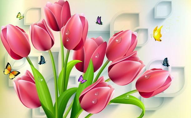 """3D Фотообои  """"Тюльпаны и бабочки"""""""