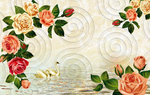 """3D Фотообои  """"Лебеди и узоры роз"""""""