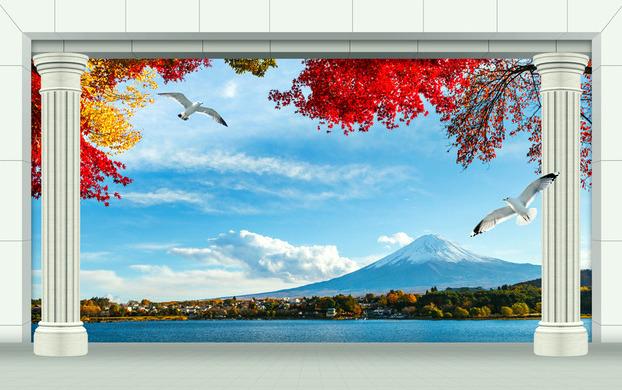 """3D Фотообои  """"Терраса у горного озера"""""""