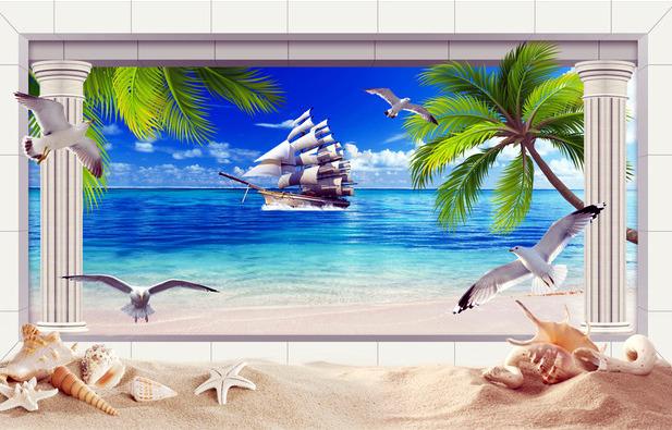 """3D фотообои """"Морская композиция"""" вид 1"""