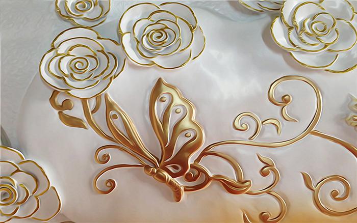 """3D Фотообои  """"Цветы и бабочка из керамики"""""""