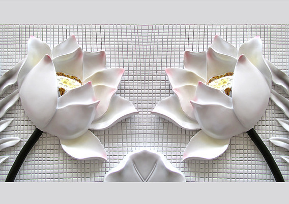3D фотообои «Лотосы на плитке» вид 1